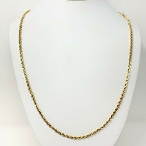 Jewelry - 14k Gold 3mm Diamond Cut Rope Chain Necklace 30""
